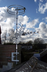 Chimney mounted digital TV and round FM aerials